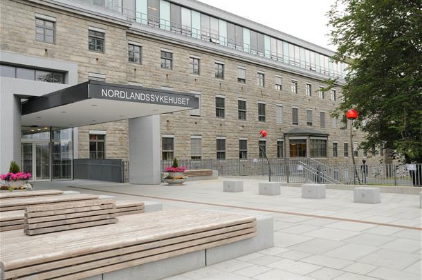 Inngangen til sykehusbygg