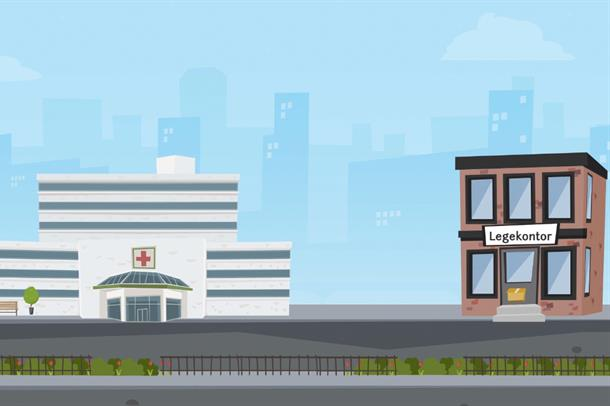 Tegning av sykehus og fastlegekontor